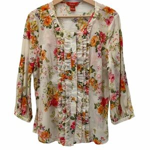 Sundance Fall Floral Ruffle Button Up Blouse